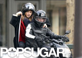 Bradley Cooper and Suki Waterhouse rode a motorcycle in Paris.
