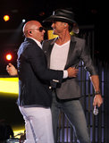 Tim McGraw hugged Pitbull.