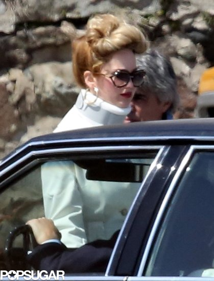 Jennifer Lawrence wore a neck brace on the set of her latest project.