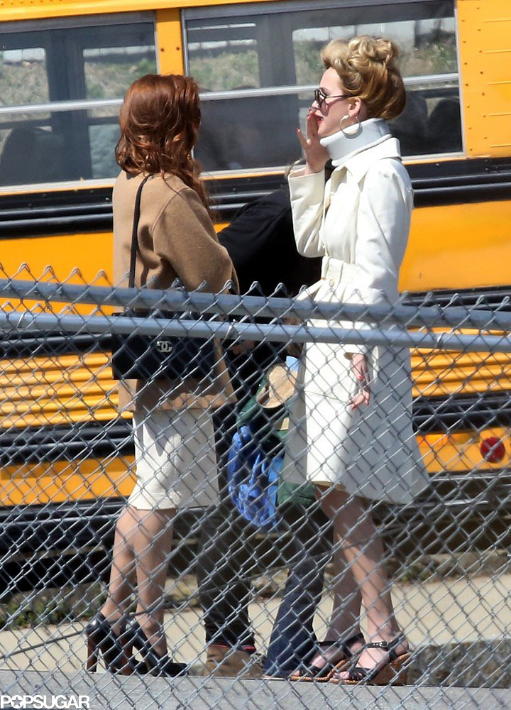 Jennifer Lawrence chatted with her costar Amy Adams while filming in Boston.