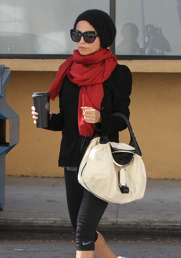 Nicole Richie carried a coffee out of her workout session in LA.