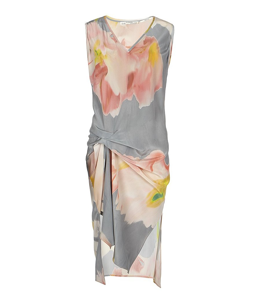 It may look draped and relaxed, but this AllSaints Blossom V Dress ($280) is actually quite flattering. Between the strategically cinched waist detail and oversize watercolor florals, it's a look that draws attention to one's silhouette rather than overwhelm it. With white ankle-strap sandals and a long gold pendant necklace, this is the perfect dinner dress solution.
