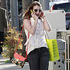 Emma Roberts Carrying Loeffler Randall Floral Rider Bag