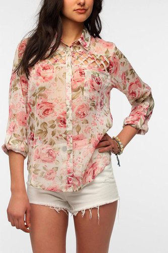 Band Of Gypsies Lattice Inset Chiffon Blouse