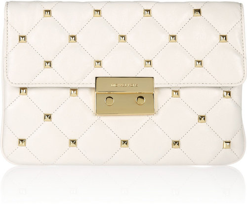 MICHAEL Michael Kors Sloan studded quilted leather clutch