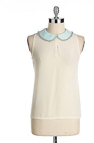 MISCELLANEOUS Pearl-Collared Sleeveless Shirt