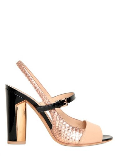 100mm Python Printed Leather Sandals
