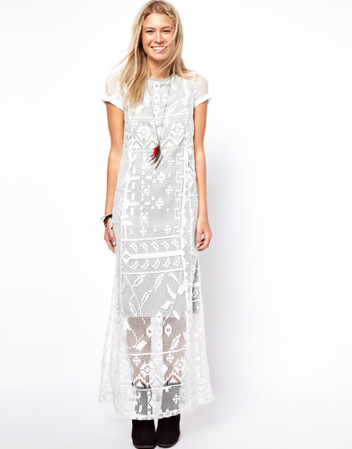 ASOS Maxi T-Shirt Dress With Lace Overlay