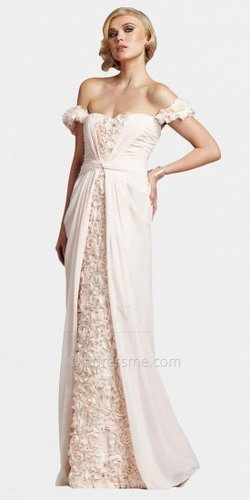 Romantic Blush Floral Off Shoulder Evening Dresses by Mignon