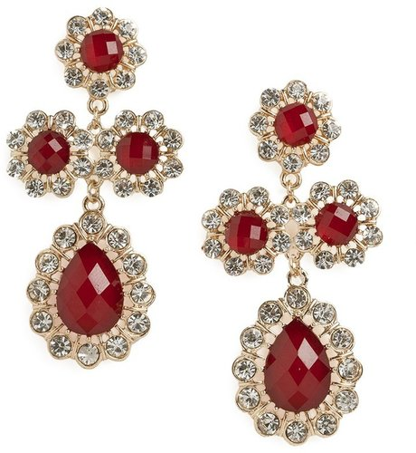 Ruby Floral Cross Drops