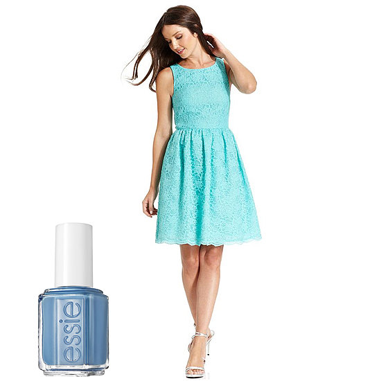 Is it something blue for you? Match your Calvin Klein Sleeveless A-Line Dress ($179) with a more pearlescent blue, like Essie Avenue Maintain ($8).