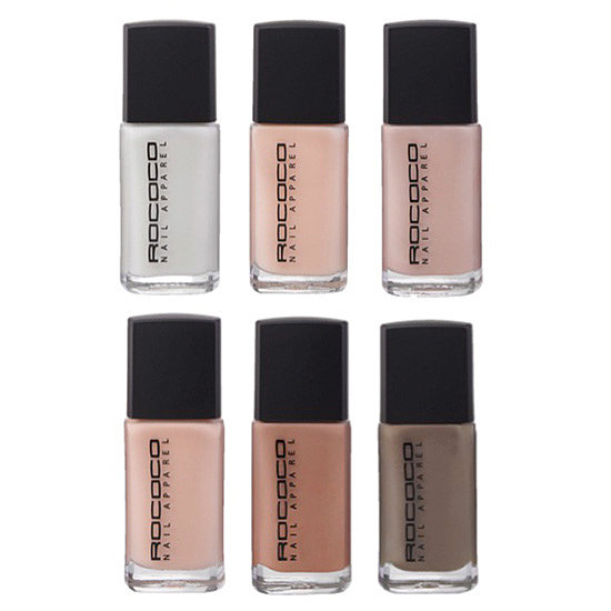 Rococo's Nude Wardrobe ($17 each) offers six shades of flesh-toned polish that are as cool as they are flattering.
