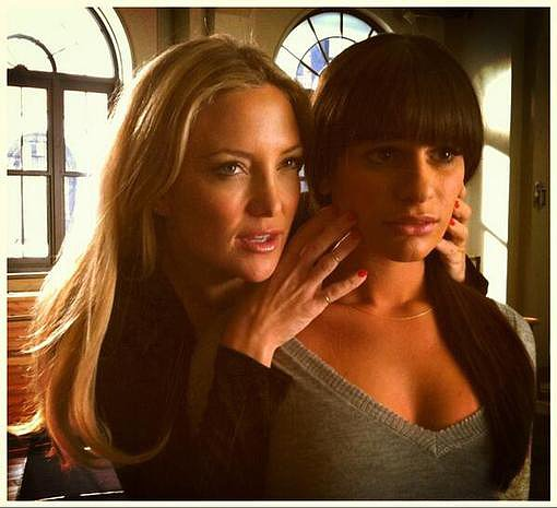 Lea Michele and Kate Hudson got close on the set of Glee. Source: Twitter user msleamichele