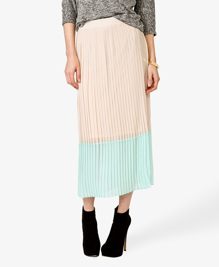 Complement this Forever 21 pleated maxi skirt ($23) with a button-down blouse and heels for a polished play on office attire.