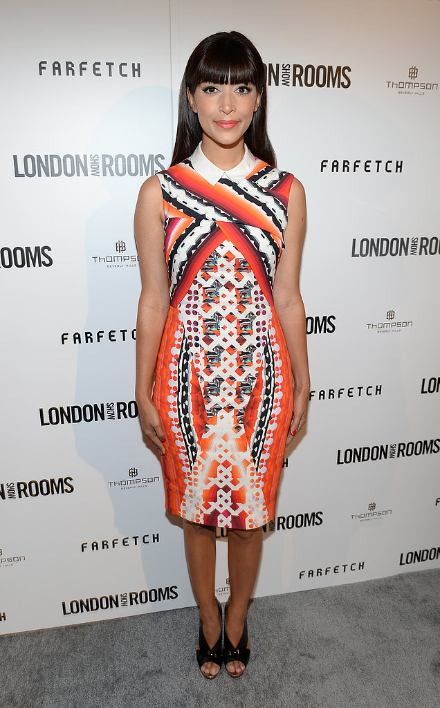 Hannah Simone was one of the boldest of the night in her collared Peter Pilotto knee-length dress and black sandals.