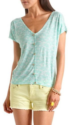 Printed Button-Front V-Neck Tee