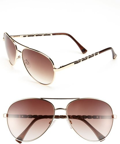Vince Camuto Metal &amp; Faux Leather 60mm Aviator Sunglasses