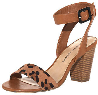 Tan clean block heel sandals