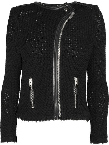 IRO Miali leather-trimmed woven cotton jacket
