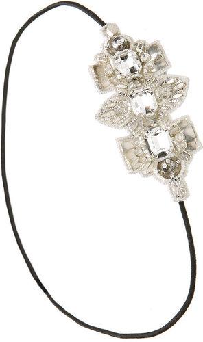 Deepa Gurnani Brass & Crystal Arrow Side Patch Wrapband, Ivory 1 ea