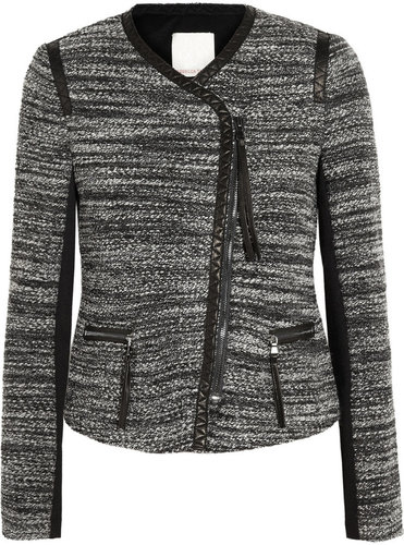 Rebecca Taylor Leather-trimmed bouclé jacket