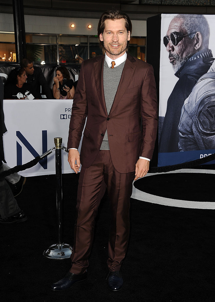 Nikolaj Coster-Waldau posed outside the Oblivion premiere in Hollywood.