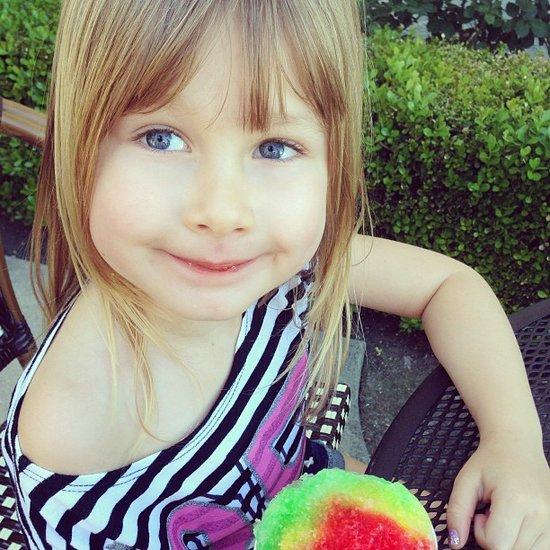 Stella McDermott enjoyed a snow cone over the weekend. Source: Instagram user torianddean