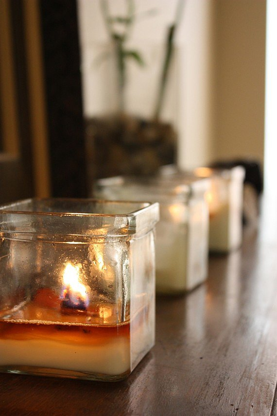 These soy candles ($12) poured in recycled votives will have a calming effect in any room.