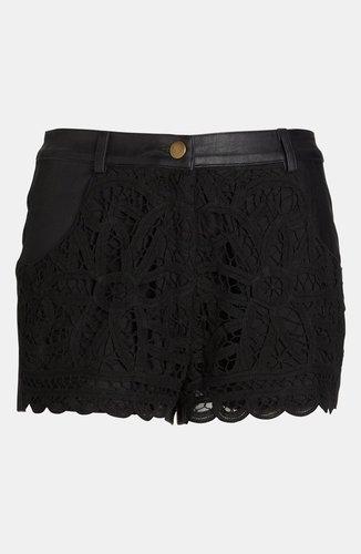 ASTR Crochet Front Faux Leather Shorts