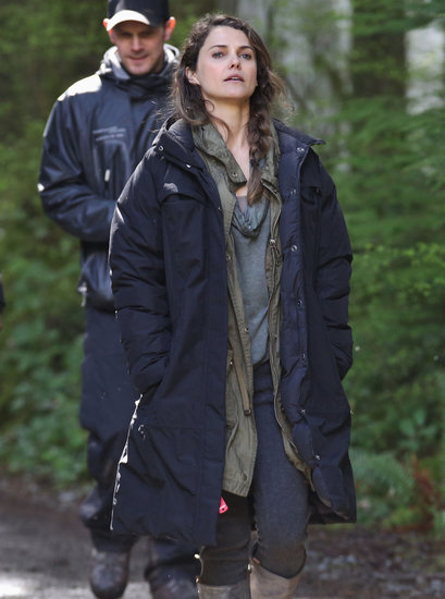 Keri Russell layered up while on location in Vancouver on Tuesday for Dawn of the Planet of the Apes.