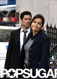 Danny Pino and Mariska Hargitay shot scenes for Law and Order: SVU in NYC on Wednesday.