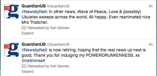 Legendary author Neil Gaiman was drunk with power (he said so himself) when he took over The Guardian US's Twitter handle.