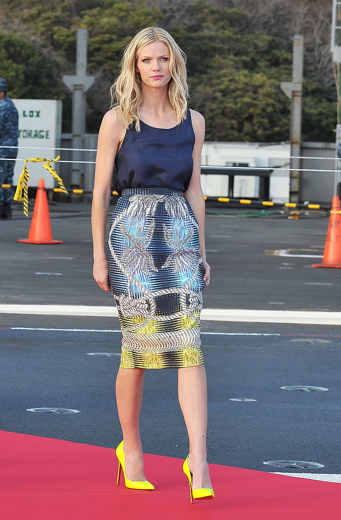 Brooklyn was both polished and playful in this printed Peter Pilotto pencil skirt for the Battleship press conference in Japan.