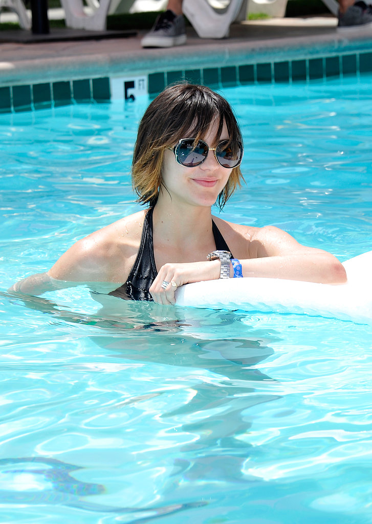 Katharine McPhee and her dip-dyed strands took a dip in the pool at a Coachella party in Palm Springs.