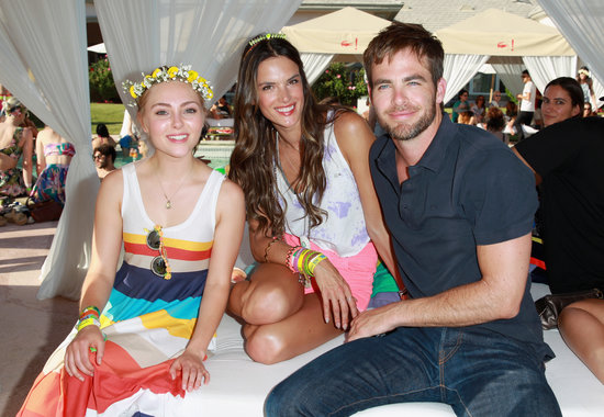 AnnaSophia Robb, Chris Pine, and Alessandra Ambrosio shared a cabana.
