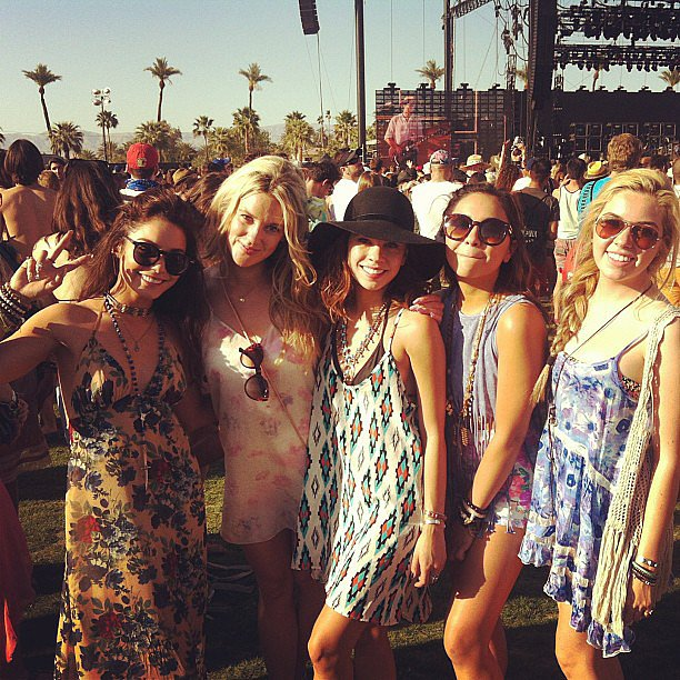 Vanessa Hudgens, in the prettiest rose-print maxi dress and round sunglasses, hung with her friends on the fairgrounds. Source: Instagram user lgypsy