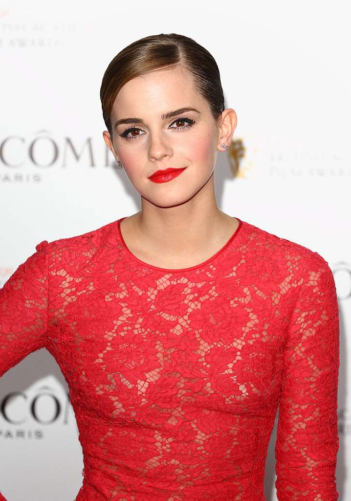 Emma matched her vibrant red lipstick to her crimson dress at the Lancome Pre-BAFTA Party in 2012.