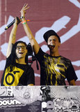 Boys Noize and Skrillex from Dog Blood were all smiles while on stage Friday.