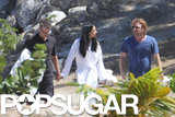 Matt and Luciana Damon walked around St. Lucia after their vow renewal.