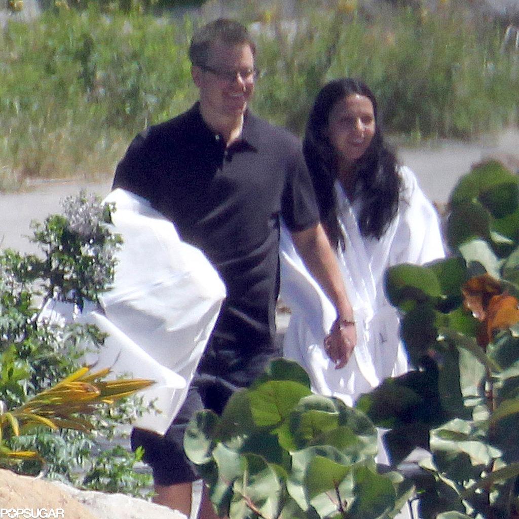 Matt and Luciana Damon held hands in St. Lucia.
