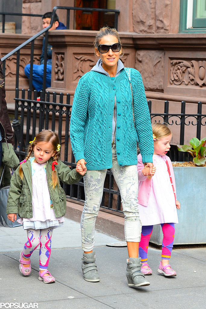 Sarah Jessica Parker took her twins Tabitha and Loretta to school on Monday in NYC.