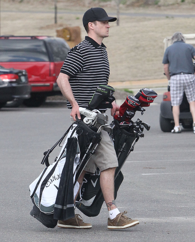 Justin Timberlake carried golf bags at the Mirimichi Golf Course in Tennessee.
