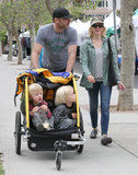 Liev Schreiber and Naomi Watts took their boys, Sasha and Kai, to an LA park and the farmers market.
