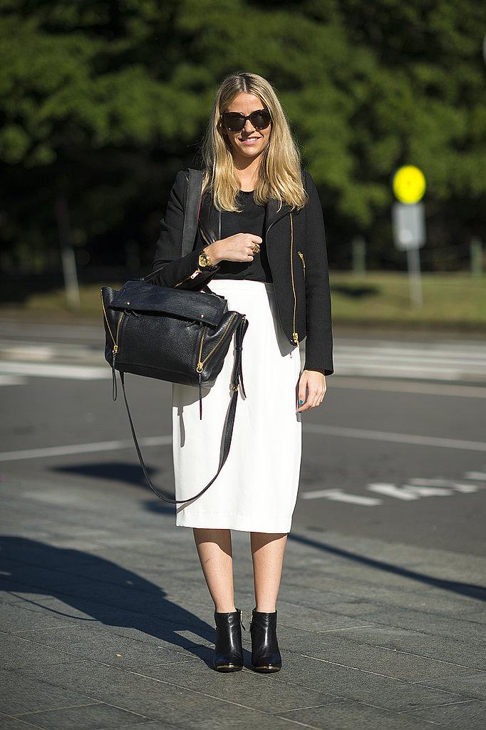 A moto-style jacket gave this creamy pencil skirt a cooler contrast. Source: Le 21ème | Adam Katz Sinding