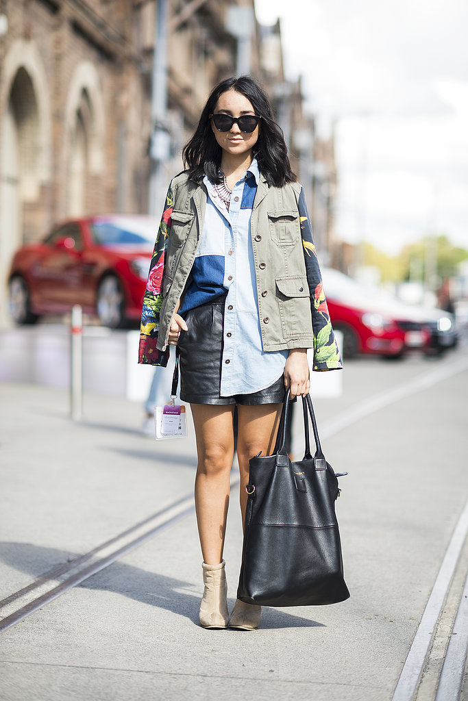 Floral print took this showgoer's anorak from staple to standout status. Source: Le 21ème | Adam Katz Sinding