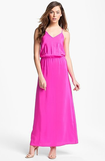 The brilliant pop of pink is perfect for Spring and Summer weddings, and the universally flattering silhouette on this Amanda Uprichard silk maxi dress ($240) means it's a perfect option for just about every body type, too.