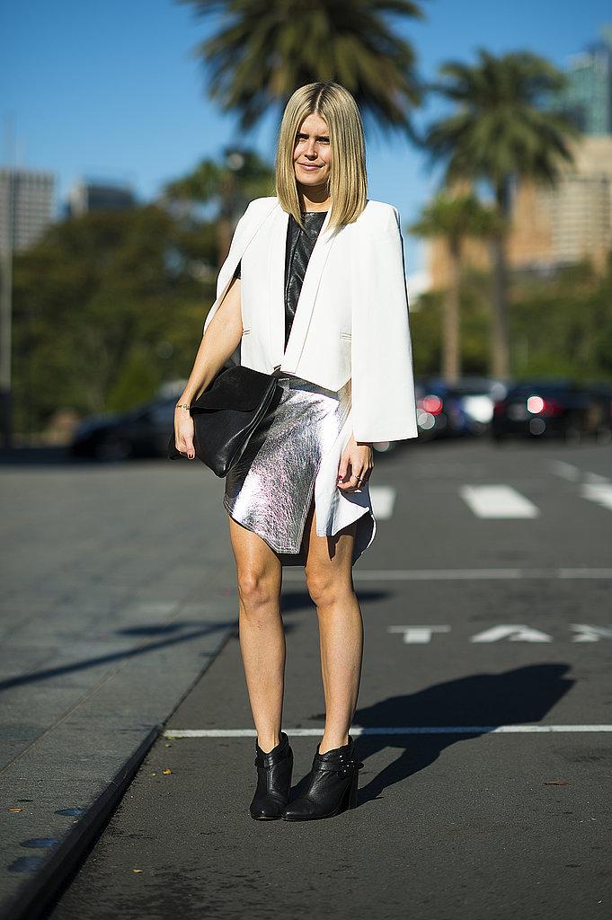 Sharper angles gave this white blazer and skirt an edgier feel. Source: Le 21ème | Adam Katz Sinding