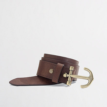 Rugged and rich, J. Crew Factory's nautical leather belt ($27) features a brass anchor fastener.