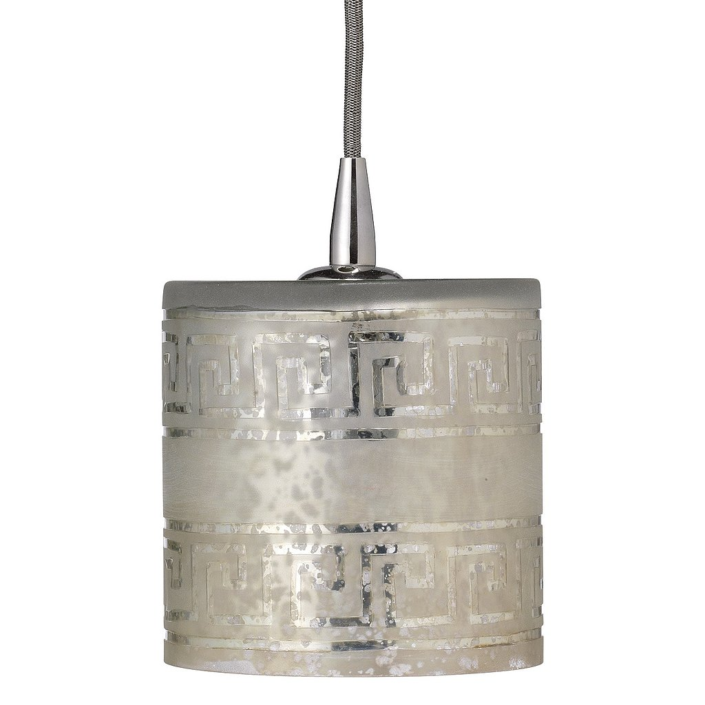 Greek key details give this etched glass pendant ($207) a modern, graphic look — classic with a twist. The sophisticated lighting would look elegant above a simple white desk or over a unique nightstand.