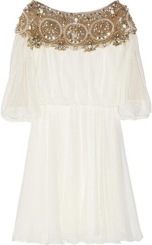 Marchesa Embellished silk-chiffon dress